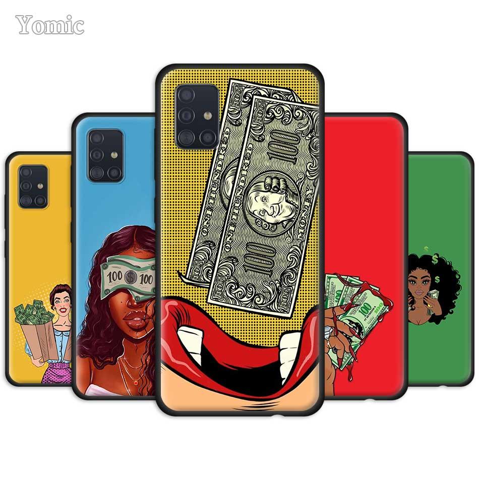 Funda suave negra de silicona Rosa haz dinero no amigos Kash funda para Samsung Galaxy A51 A71 A21 A81 A91 A01 S20 Ultra 5G S10 Plus