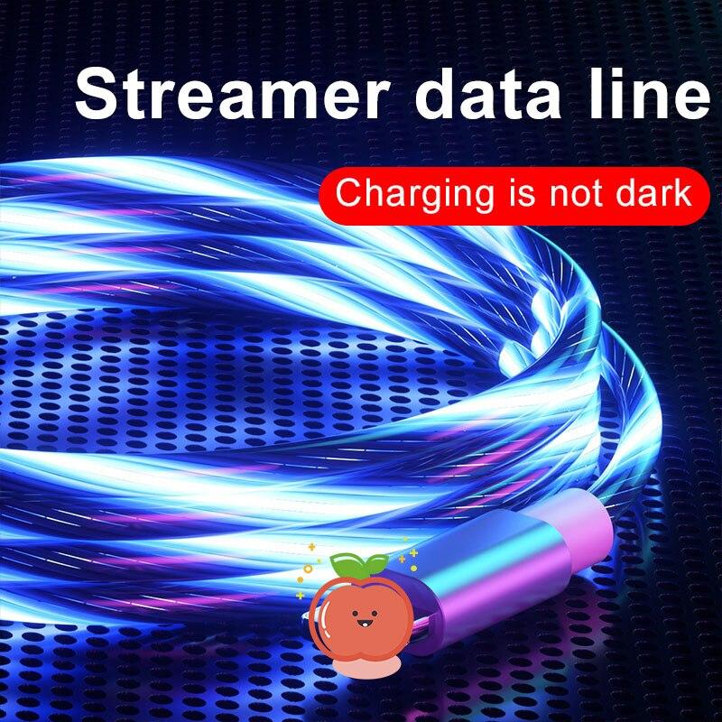 Cable de teléfono móvil luminoso de colores brillantes, 1M, con luz LED,...