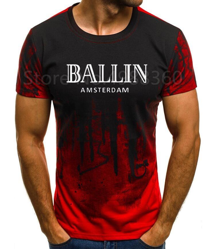 Ropa de marca para hombres cuello redondo Ballin Paris urbano moda gráfica hombres camiseta estampado hombres manga corta Camiseta