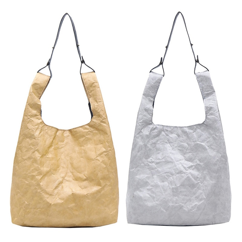2 Pcs Paper Tote Bag Women Kraft Paper Bucket Bag Handbag Retro Vintage Style Shoulder Bag Casual Tote Shopper , Gray & Brown