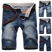 2019 été mode hommes vêtements déchiré droit Denim Shorts jean décontracté détruit trou ajustement mâle marque hommes pantalons homme