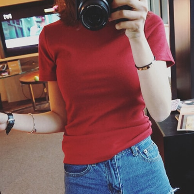 Verano 2020 amarillo Camiseta corta Mujer manga Top prenda
