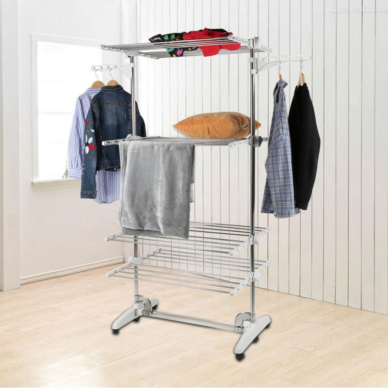 4 Layers Indoor Drying Rack Clothes Dryer Clothes Hanger Foldable Clothing Tower Garments Rack Stand With Wheels Bedroom Hanger