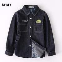 2 7y autumn toddler kids baby boys shirts tops clothes denim letter print long sleeve tops shirt warm child brand clothing