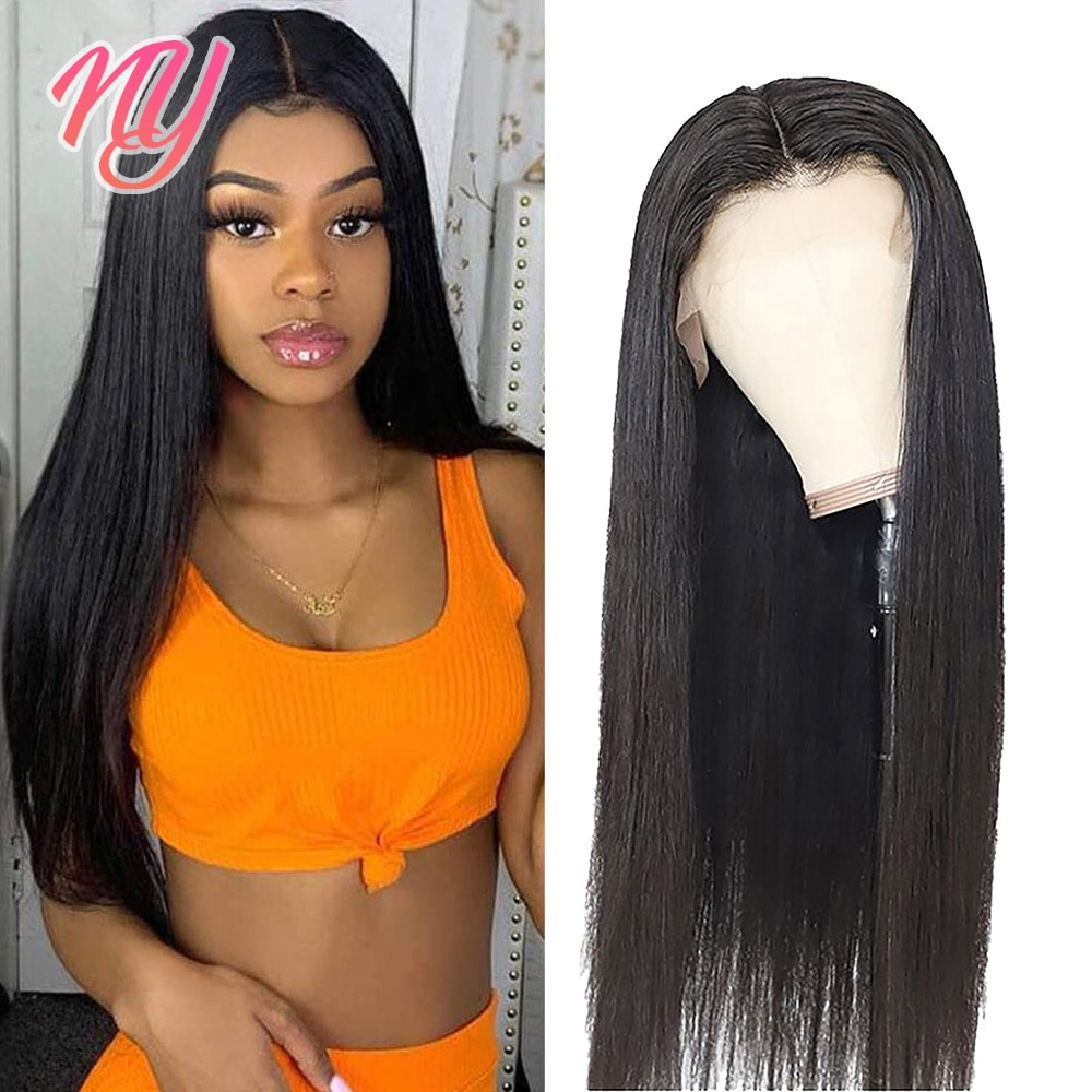 NY Straight Black 4x4 lace closure 13x4x1 lace HD T-part Human Hair Wigs 18 20 22 inch 180 Density Pre Plucked