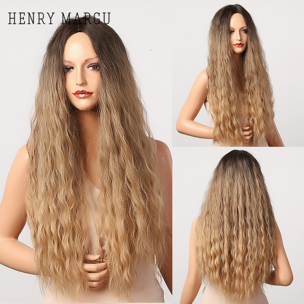 HENRY MARGU Brown Blonde Ombre Long Wave Synthetic Wigs for Women Natural Curly Wig Cosplay Middle Part Wigs Heat Resistant