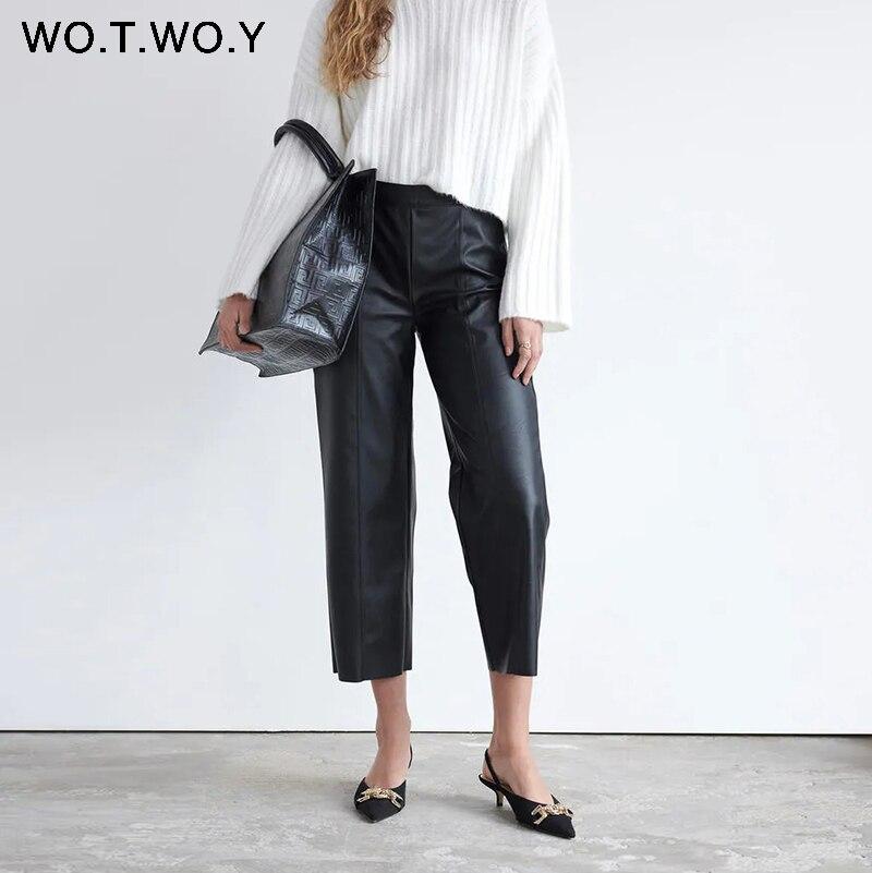 WOTWOY, pantalones de piel sintética de cintura alta, Pantalones rectos sueltos hasta el tobillo para mujer, pantalones negros de algodón con bolsillos para mujer, coreanos 2020