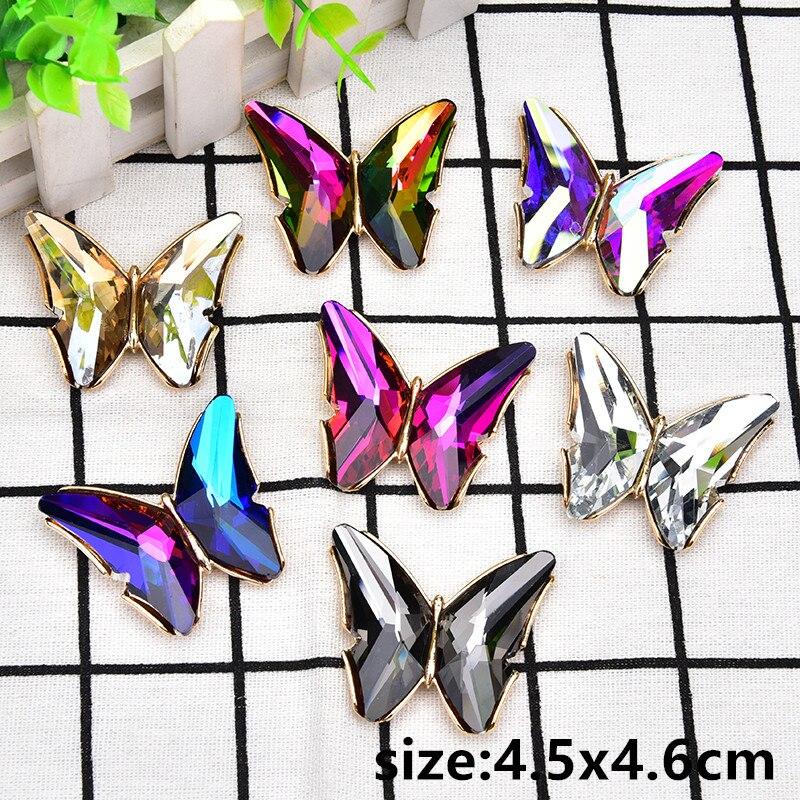 2 unids/lote broche grande de mariposa de diamantes de imitación de cristal para decoración de vestido de boda accesorios DIY de sujeción/costura