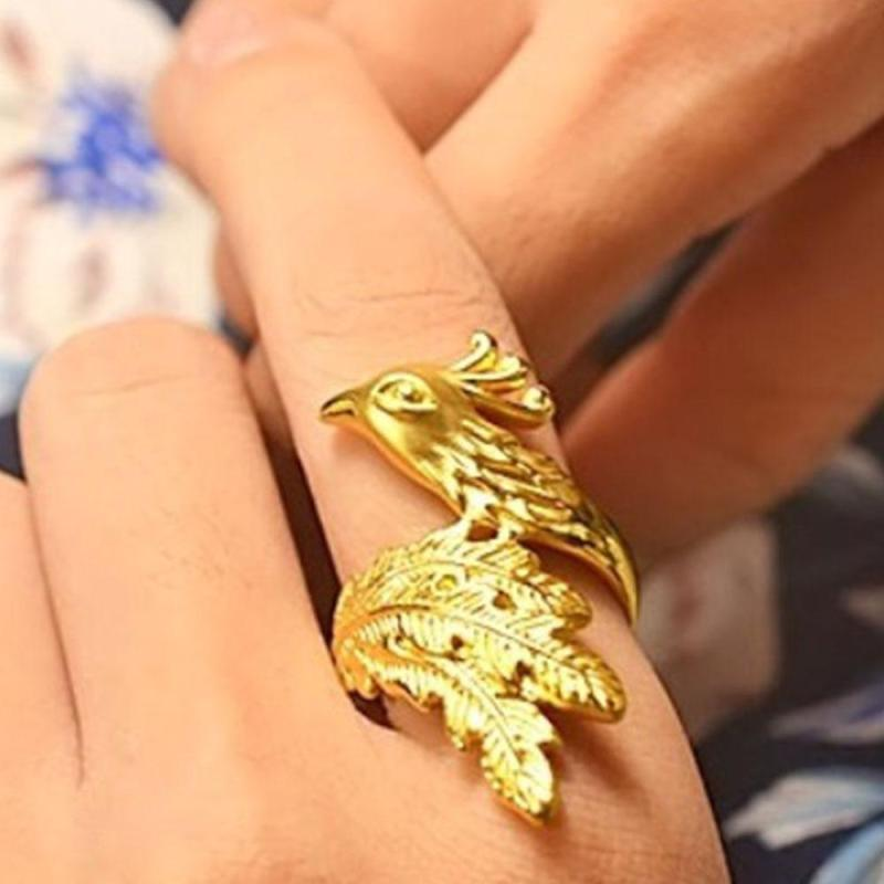 Único 18 quilates anel de ouro phoenix anéis personalidade ouro animal anel feminino moda jóias presente