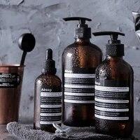 Bouteille de stockage en verre marron  scandinave  vide  compte-gouttes  huile essentielle  100ml  250ml  distributeur de savon  shampoing  salle de bain