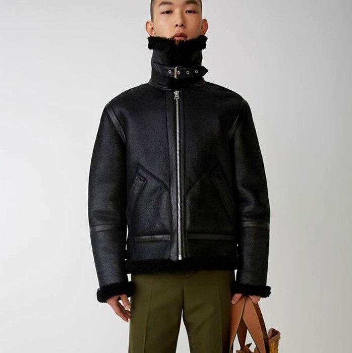 الكلاسيكية دائمة الخضرة الأصلي البيئية جلد الغنم الفراء الدافئة Warm جلد طبيعي ملابس الرجال ملابس خارجية سماكة معتدلة