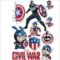 marvel 3d stereo shield sticker car motorcycle body tail modification decoration sticker home child decoration