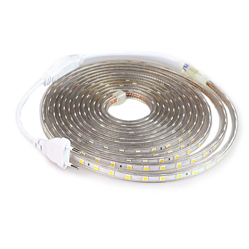 SMD 5050 AC220V LED Strip Flexible Light 60leds/m Waterproof Led Tape LED Light With Power Plug 1M/2