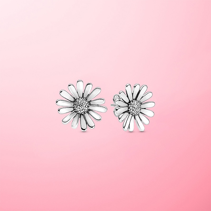 Jrsr novo 100% 925 brincos de prata esterlina pave definir daisy flor statement brincos de prata esterlina feminino jóias presentes
