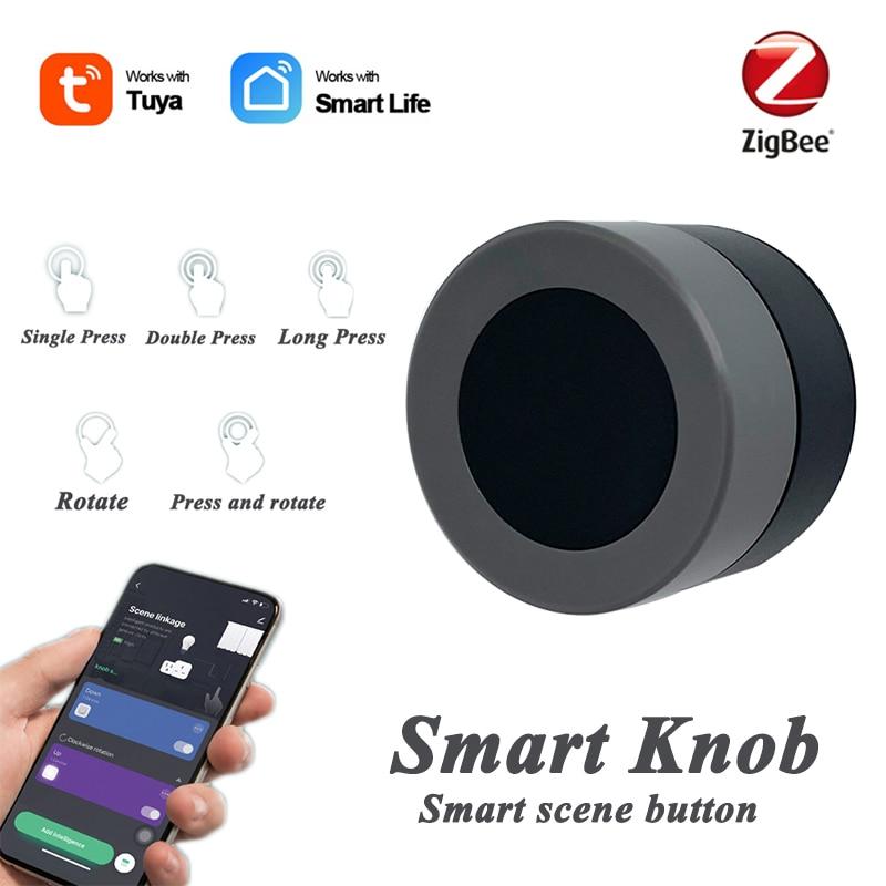 ZigBee Smart Knob Wireless Scene Switch Button Controller Battery Powered Automation Scenario Works With Tuya / Smart Life App