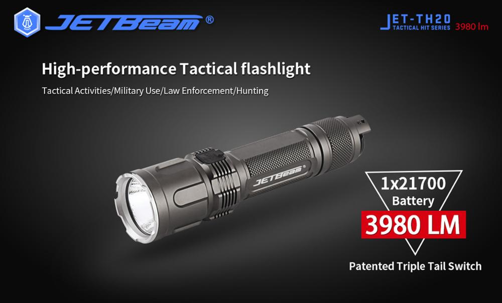 JETBEAM Newest TH20 Military Series Tactical Flashlight 3980 Lumens 5 Modes Long Time Running Army Green Flashlight enlarge