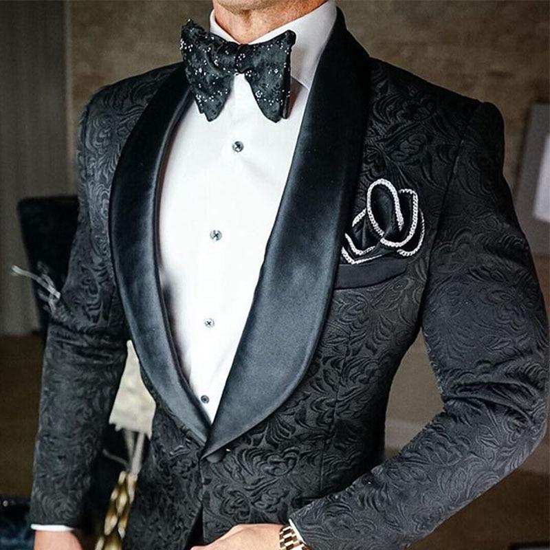 2021 مصممة صنع الأسود الجاكار دعوى للرجال العريس سهرة Terno يتأهل 2 قطعة أفضل رجل سترة حفلة موسيقية بدل زفاف مع السراويل