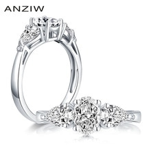 925 Sterling Silber 0,75 Carat Oval Cut Engagement Ring 3-Stein Ring Simulierte Diamant Hochzeit Silber Ring Schmuck