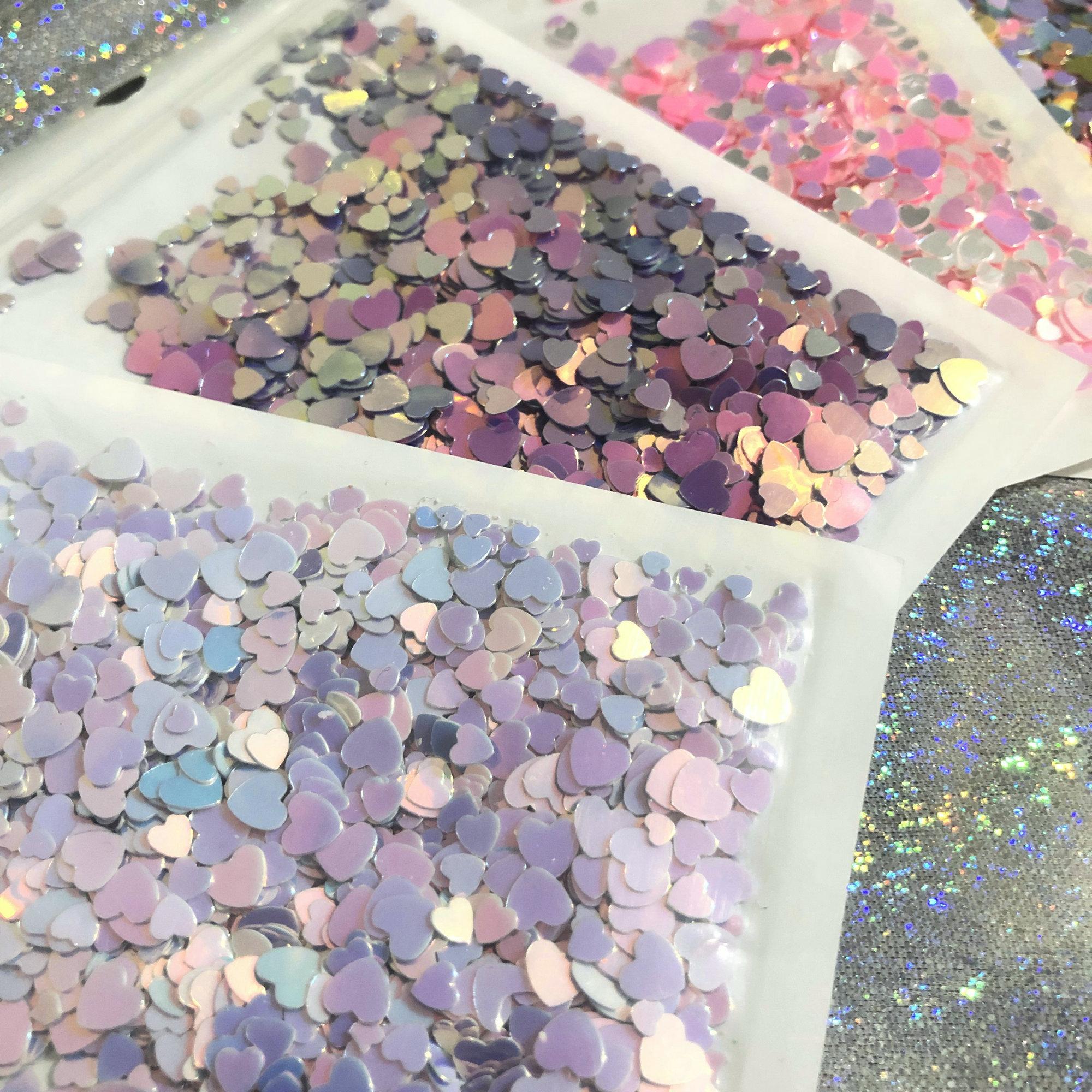 Corazón brillante lentejuelas tamaño mezcla DIY resina Shaker Charms rellenos brillantes holográfico abultado corazón cortes decoración brillo Paillette Slime