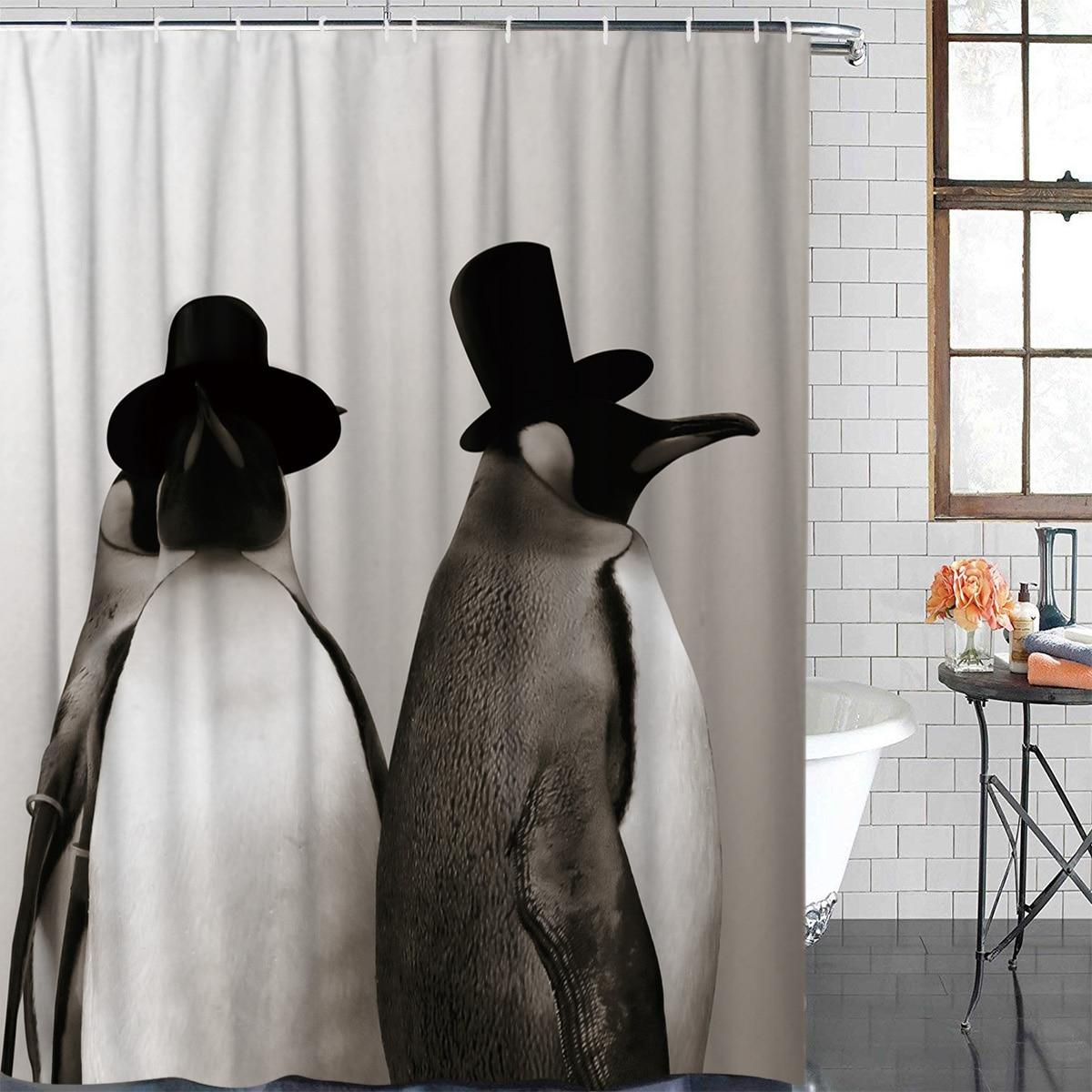 Cortina de ducha impermeable de tela de poliéster tema Animal lindo pingüino Primer plano Cortina de ducha