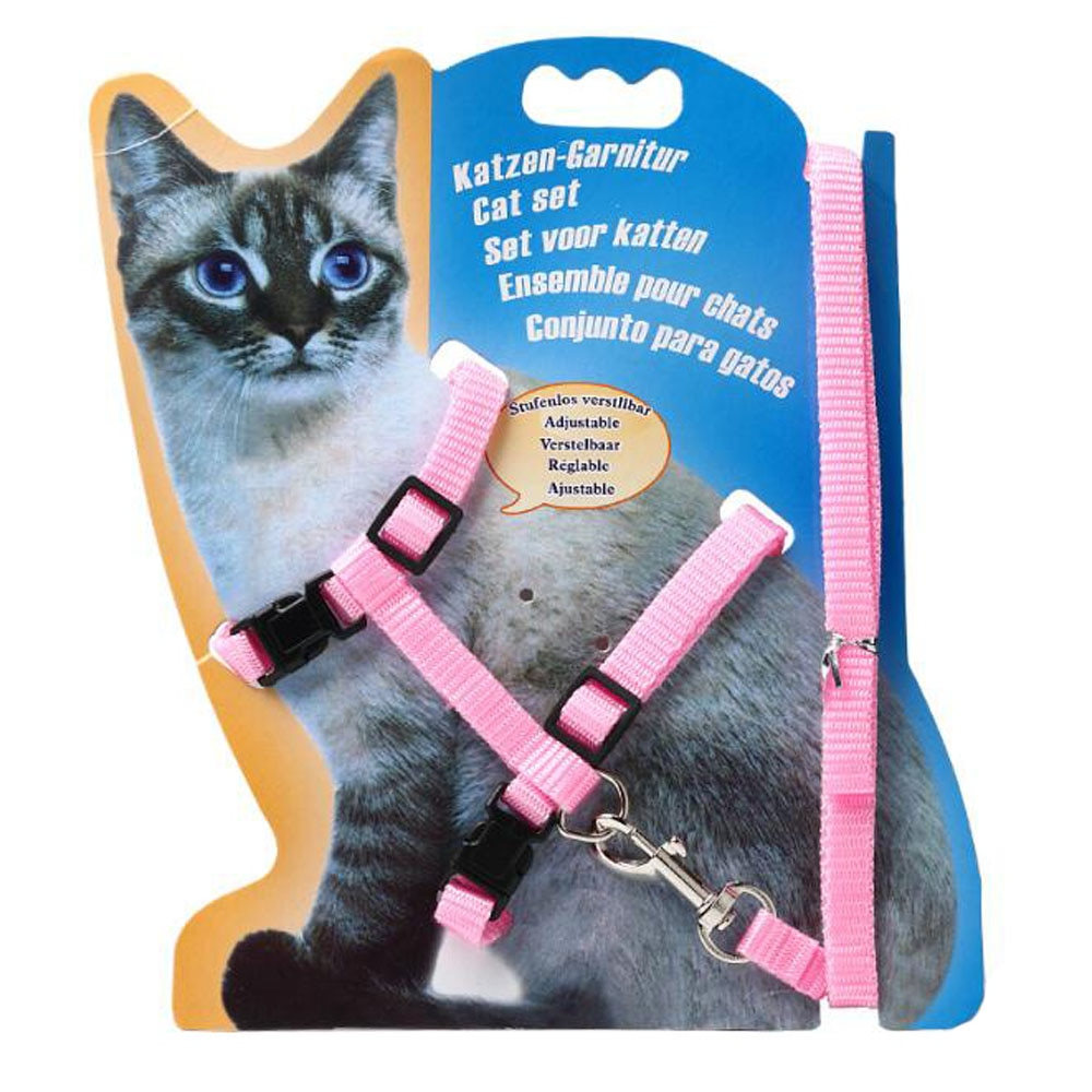 kitten harness pet leash cat harness outdoor walk for small cat puppy chihuahua pet harness leash cat products Pet Cat Collar Harness And Leash Adjustable Nylon Pet Traction Dog Kitten Halter Collar Cats Products For Cat Pet Harness Collar