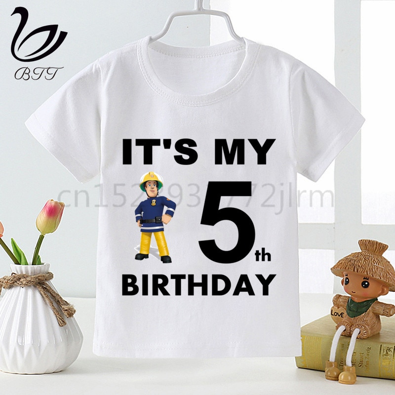 Футболка на день рождения Пожарный Сэм, подарок на день рождения, детские футболки с забавным принтом