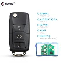 KEYYOU-clé de voiture intelligente pliante   3 boutons, rabattable, télécommande pour VW PASSAT Polo Skoda Seat 1J0959753DA 434Mhz avec ID48