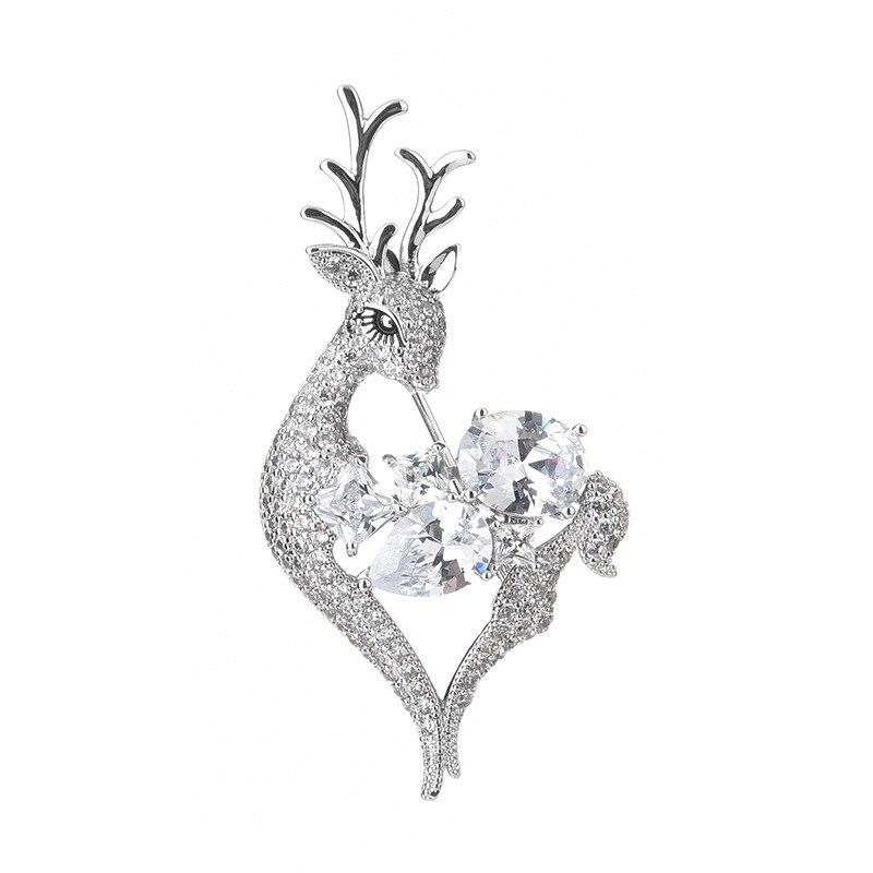 Cobre incrustado zircão roupas de casamento tendência jóias acessórios moda bonito fawn upscale elegante delicado broche pino melhores presentes