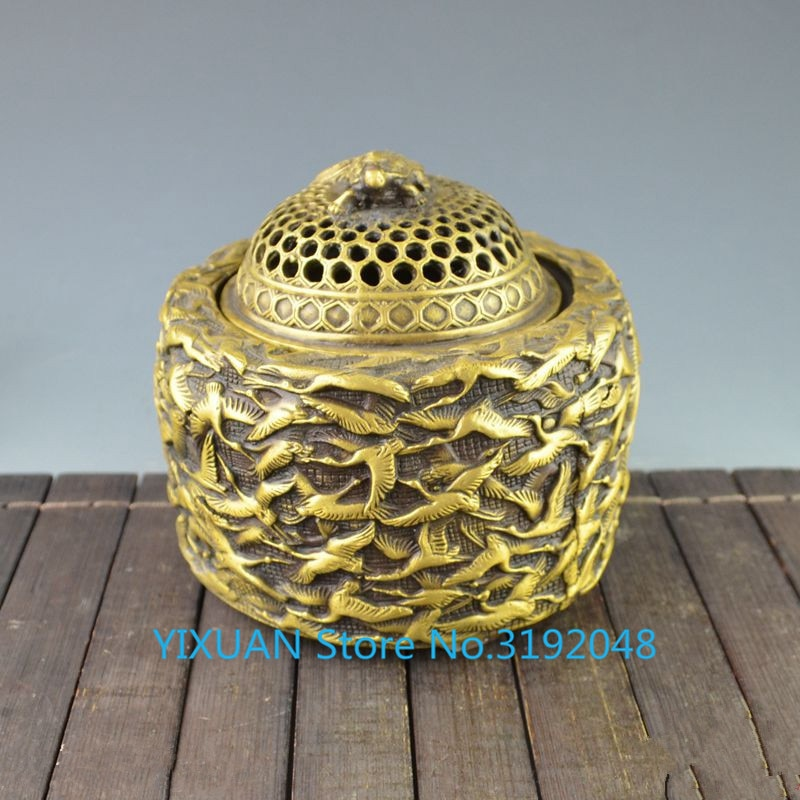 Xianhe incensario decoración ornamento cobre colección Decoración Accesorios latón artesanía antigua estufa