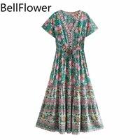 rayon print boho dress short sleeve v neck loose high waist bandage beach party summer dresses women clothes vestidos de mujer