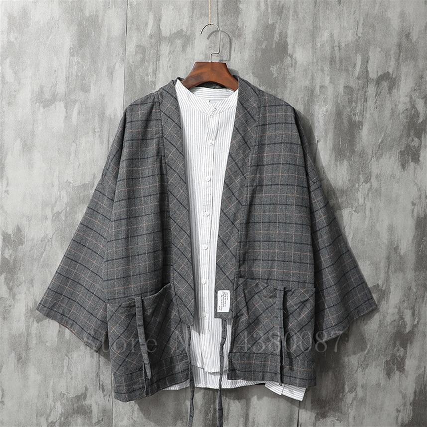 Quimono masculino estilo tradicional japonês casaco cardigan casual solto haori retro xadrez samurai jaqueta roupas asiáticas yukata
