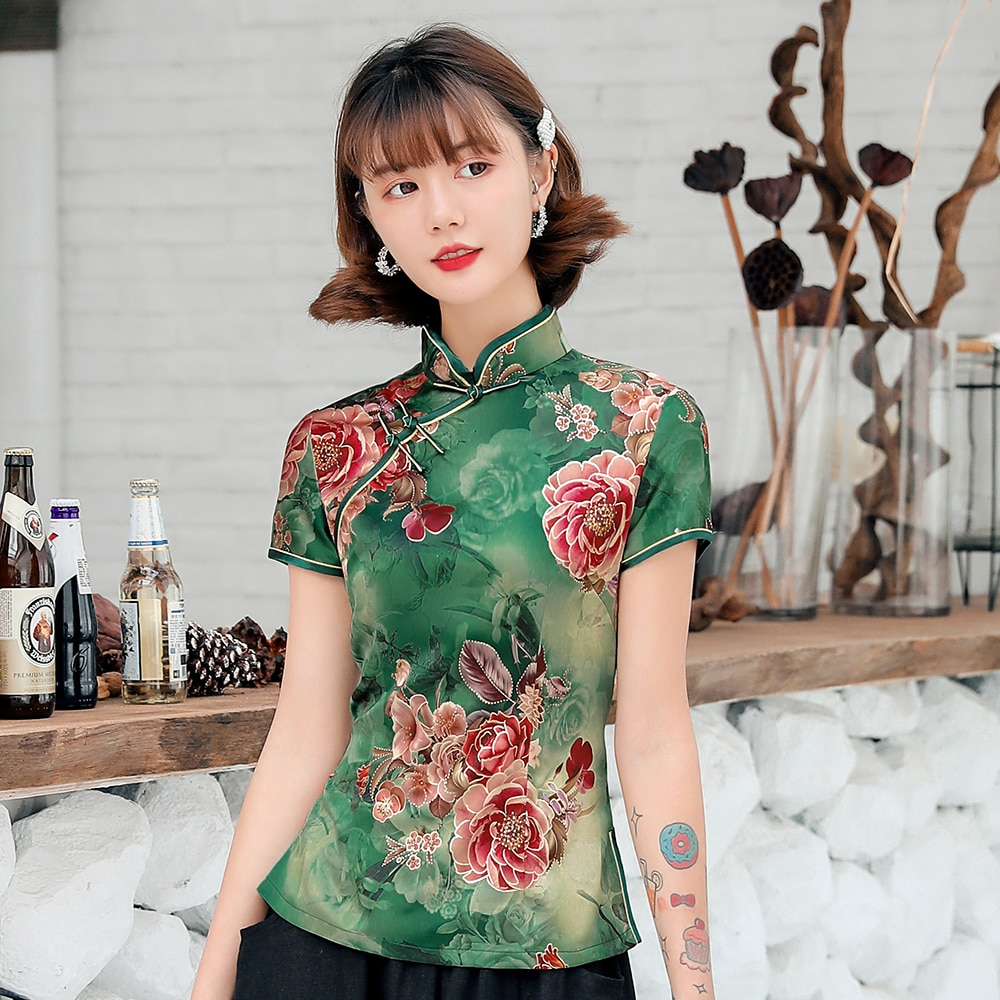 Abrigo de espiga para mujer con estampado de flores chino tradicional, camisa delgada sexi, blusa de satén verde suave, ropa clásica Vintage de talla grande