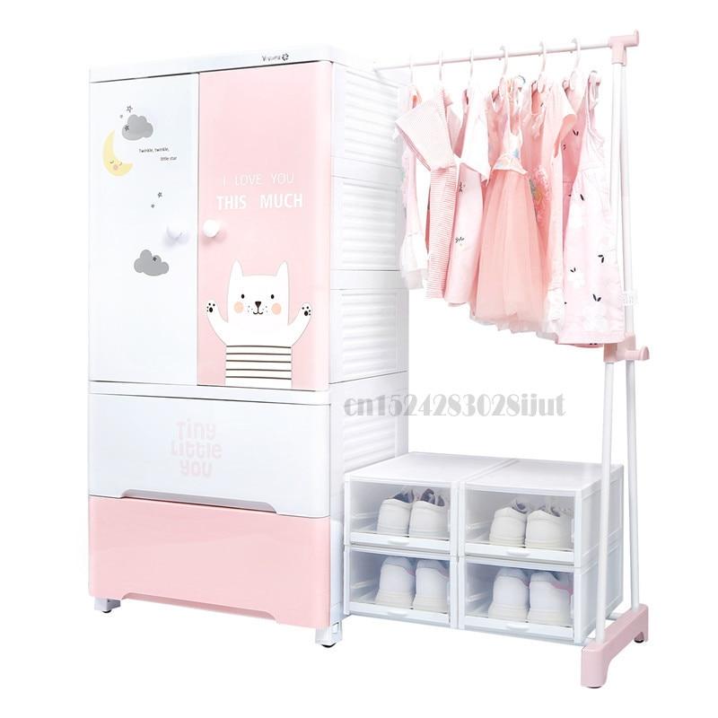 B ، Yeya Yeya-خزانة تخزين بلاستيكية سميكة ، خزانة ملابس للأطفال ، بسيطة ومعلقة ، تشطيب
