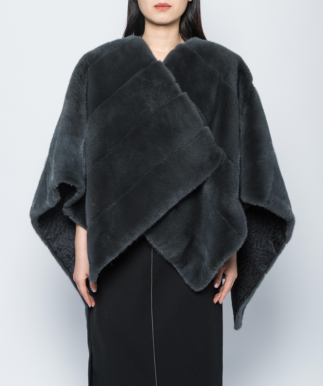 Arlene sain 2020 White mink cloak coat imported from the United States