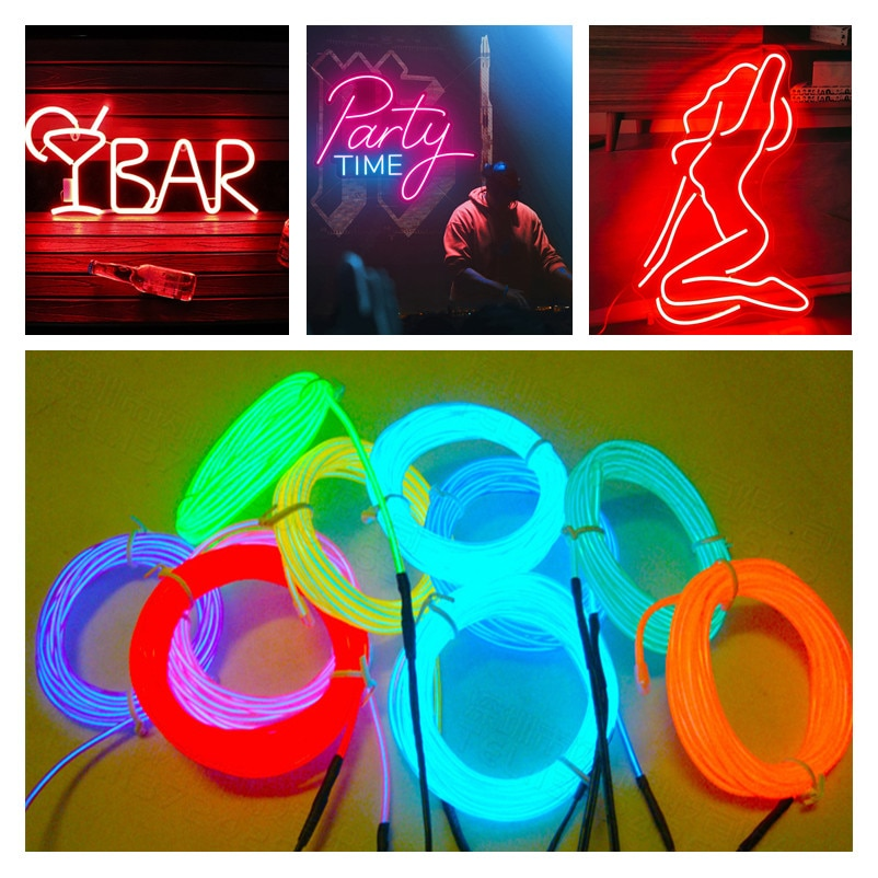 4m car led strips auto decoration atmosphere lamp 12v flexible neon el wire rope indoor interior led car light 1M 3M 5M car EL Wire led strip Atmosphere light for DIY flexible AUTO interior Lamp Party decoration lights Neon strips 12V USB