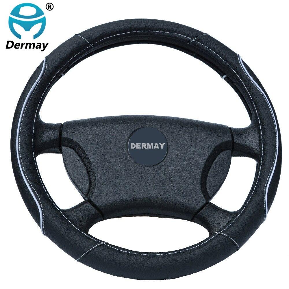 Las fundas de cuero del volante del coche dercan se ajustan al estilo del coche 95% para kia/vw/ford/nissan, etc., tamaño 38cm barato y de alta calidad