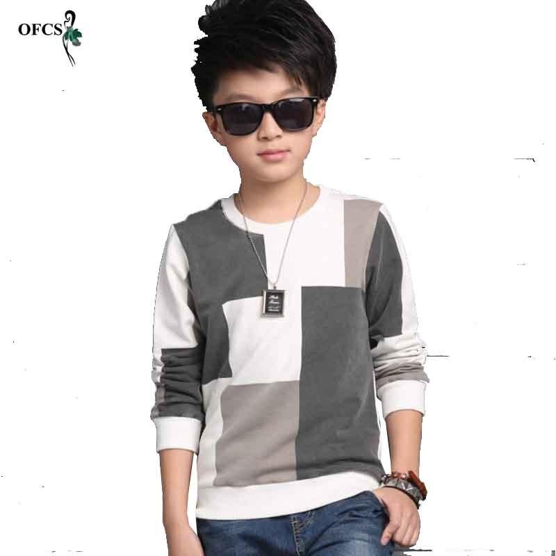 Neue Freizeit Kinder T-shirt kinder Kleidung, junge Herbst Überprüft Stricken Pullover Mantel Cuhk Kinder Füge Zusammen Einzelhandel 5-16 T