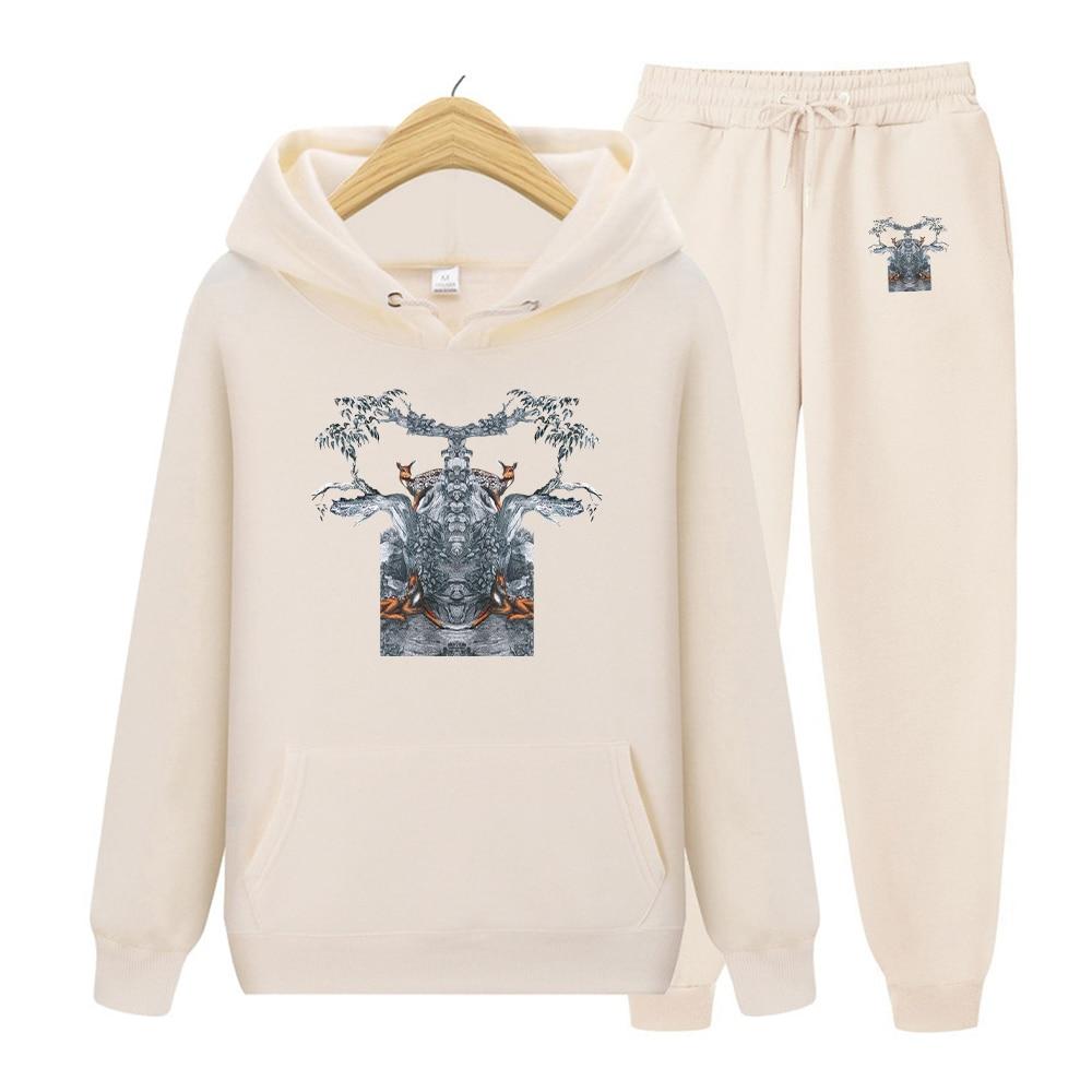 Мужской комплект из 2 предметов, Толстовка и штаны с капюшоном, Свитшот и брюки, мужской комплект с карманами, толстовка с принтом, пуловер в ...