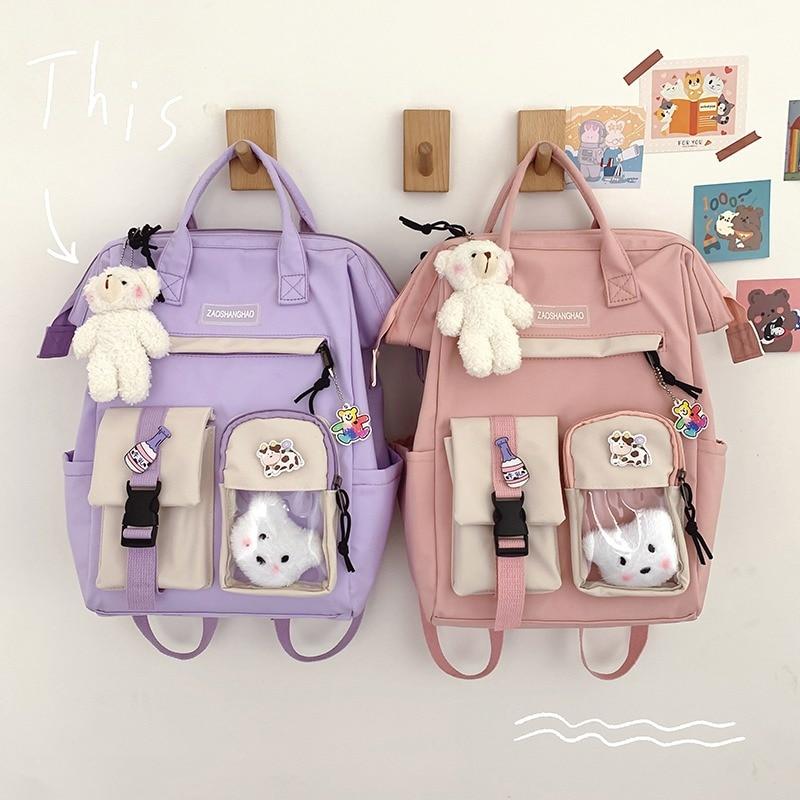 Women Backpack Waterproof Candy Colors Backpacks Fancy Cute School Bags For Student Bookbag Girl Multifunctional Travel Rucksack