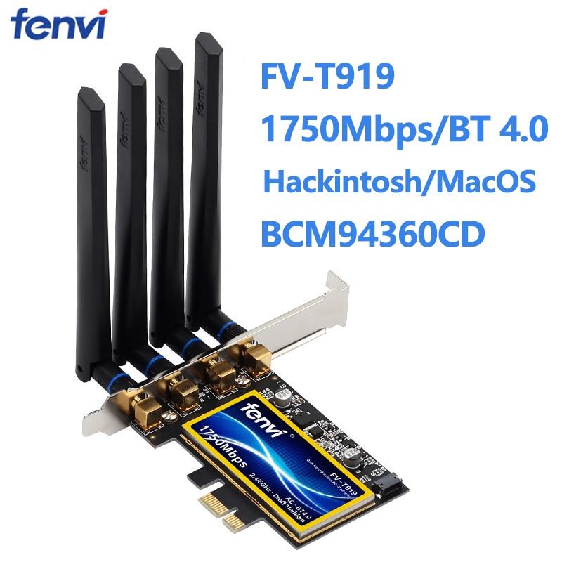 Fenvi T919 1750 150mbps PCIe Wifi محول BCM94360CD ماك Hackintosh بلوتوث 4.0 802.11ac 2.4G/5G اللاسلكية بطاقة سطح المكتب PC