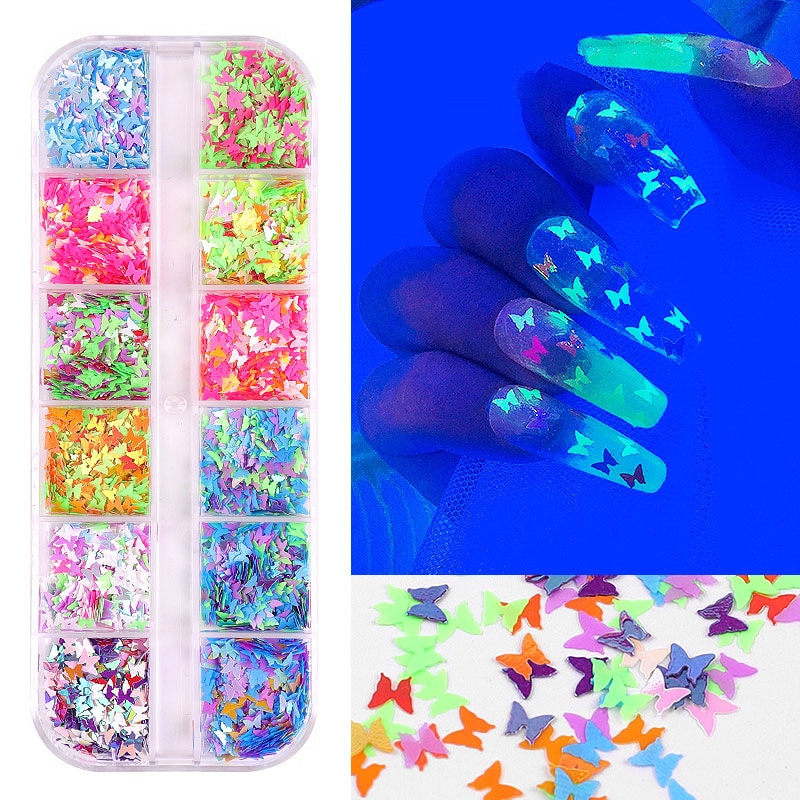 New 1Box/12Colors Nail Glitter Flakes Sparkly 3D Colorful Butterfly Sequins Polish Manicure Nails Art Decorations D052 недорого