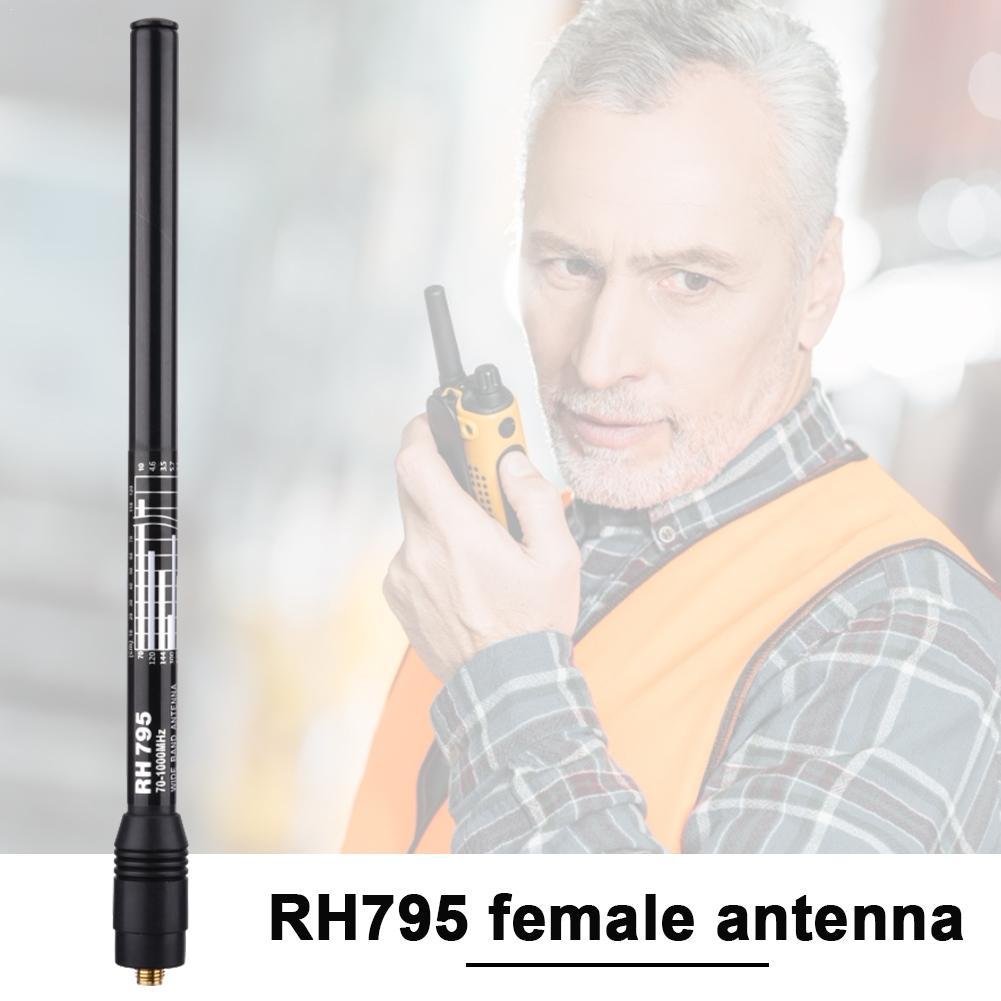RH795 antena telescópica hembra SMA hembra 10W Banda ancha RX 70-1000MHz TX 144/430 MHz policía DIGITAL escáner Antena de mano