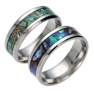 Кольцо из титановой стали с цветной раковиной, мужское кольцо высокого качества, персонализированный подарок для мужчин, обручальное кольцо для танца, юбилея, помолвки