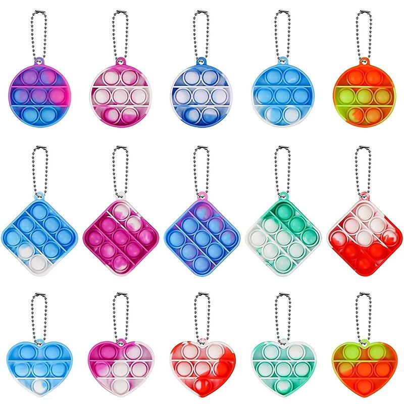 30pcs Mini Push Bubble Sensory Toy Autism Needs Squishy Stress Reliever Toys Anti-stress Fidget Keyc