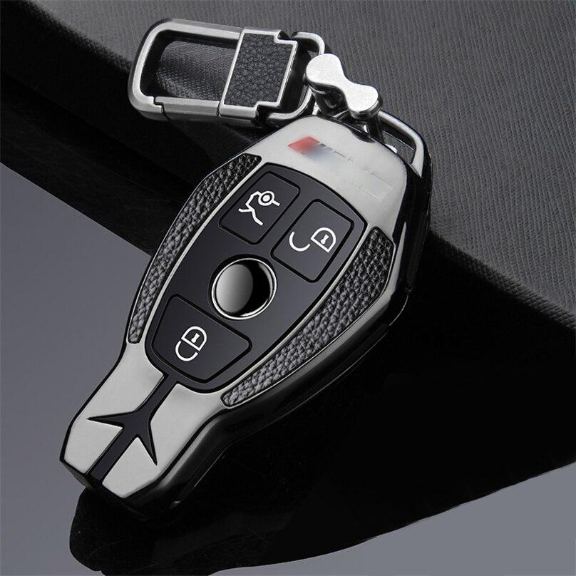 Capa para chave de carro, luxuosa, de liga de zinco, para mercedes benz w210 w211 w212 w124 w154 w202 w205 slk amg