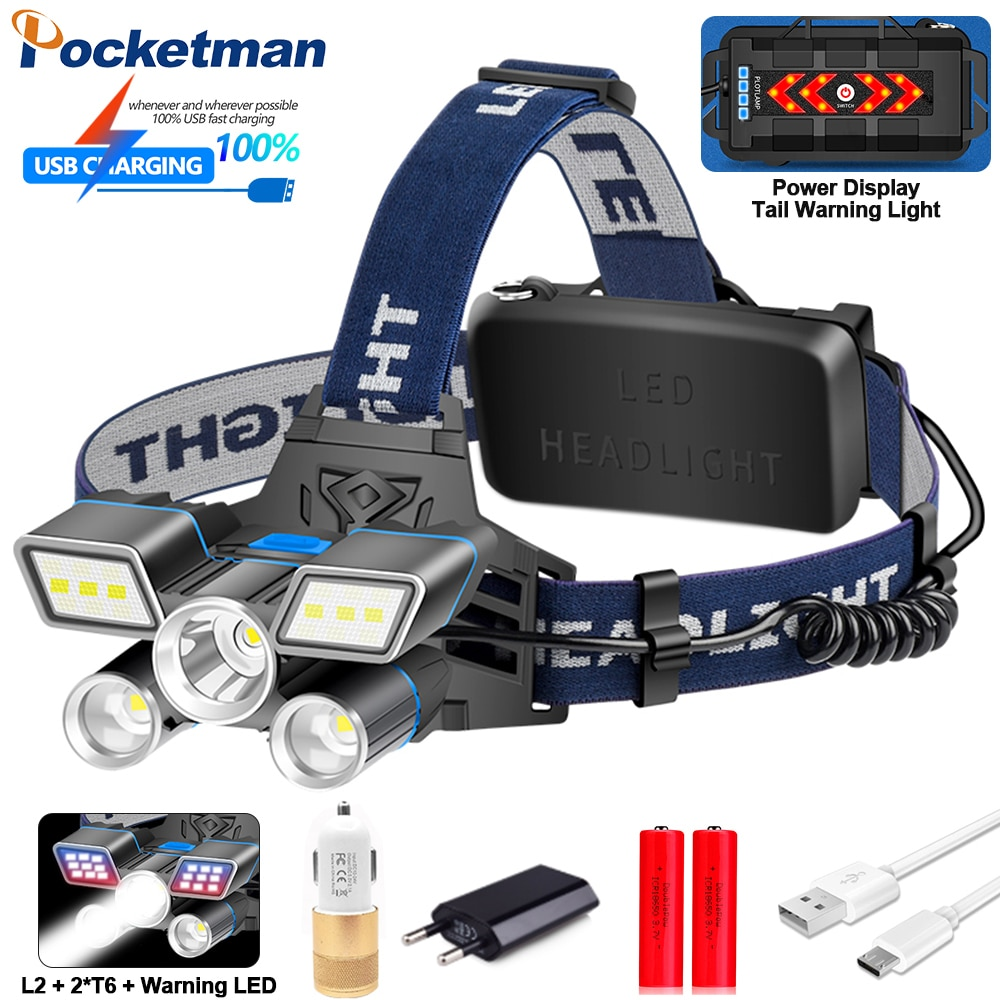 Super rojo/azul/blanco luz LED faro L2 + 2 * T6 LED linterna frontal recargable USB con luz de advertencia trasera 9 modos de agua