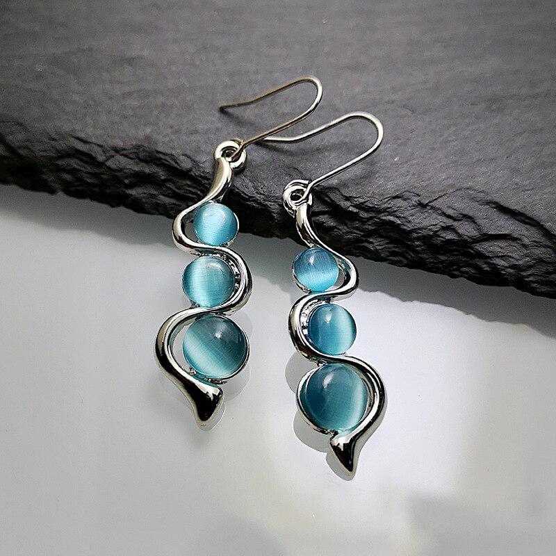 Curva ondulada línea azul piedra lunar aretes estilo bohemio plata cuentas piedras de resina largos pendientes colgantes para mujer encanto joyería