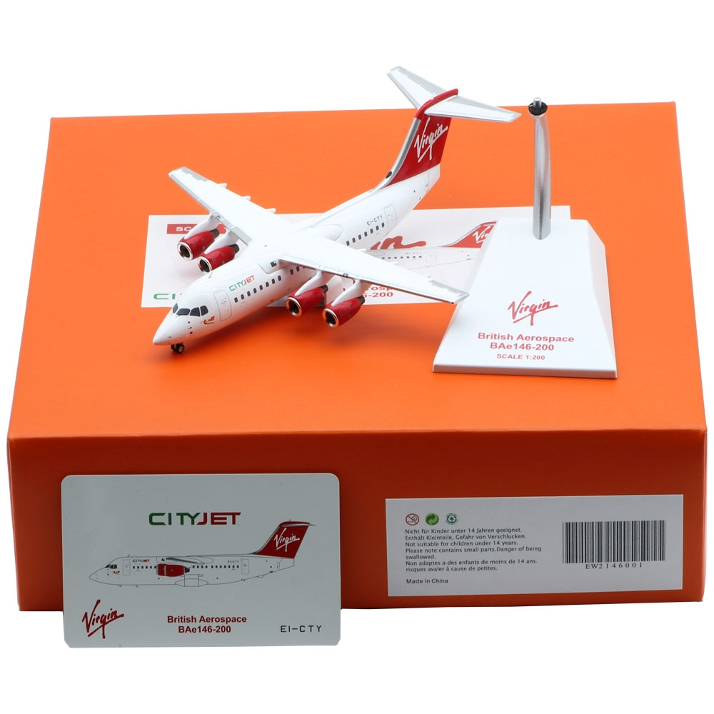 1:200 Alloy Collectible Plane JC Wings EW2146001 Virgin Express City Jet Airlines BAe146-200A Diecast Aircarft Model EI-CTY