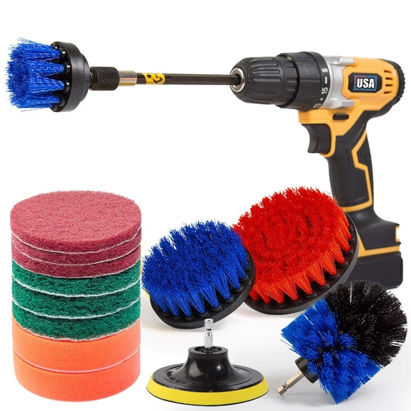 Drill Brush Attachment Set Power Scrubber Brush Car Polisher Bathroom Cleaning Kit with Extender Kitchen Cleaning Tools недорого