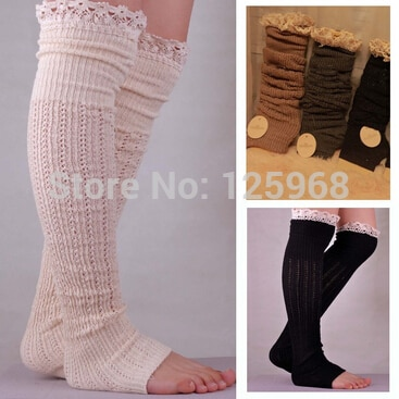 Free Shipping!2015 New Lace Trim Flat Cuffs Button Down Knit Knee High Boot Socks Boot Warm Socks Knit Leg Warmers for women
